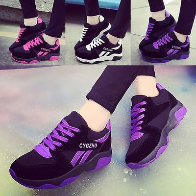 New Fashion Women's Casual Walking Sneakers Lace-up Leather Running Sports Shoes