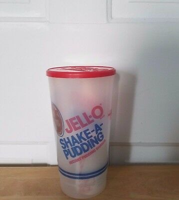 New Jell-o Shake-a-Pudding Instant Pudding Shaker, red lid, instructions recipes