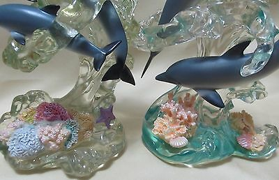 TWO Lenox Dream Of Dolphins sea shells Acrylic sculpture Figurines Wave Divers