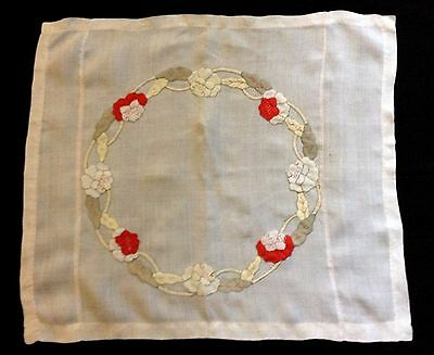 Lovely Old Vintage Hand Embroidered Applique Work Linen Tablecloth 25 x 22 1/2