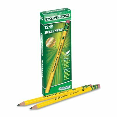 Dixon Ticonderoga Beginners Primary Size #2 Pencils with Erasers, Box of 12,