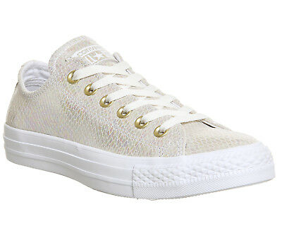 Womens Converse All Star Low Leather WHITE SNAKE IRIDESCENT EXCLUSIVE Trainers S
