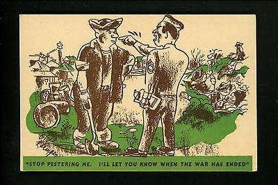 Military Comic Postcard Vintage WWII Army soldier Free Frank