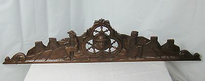 US0065 big Antique french pediment (castle scene), masterly carved