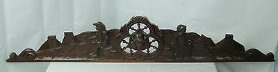US0066 big Antique french pediment (castle scene), masterly carved