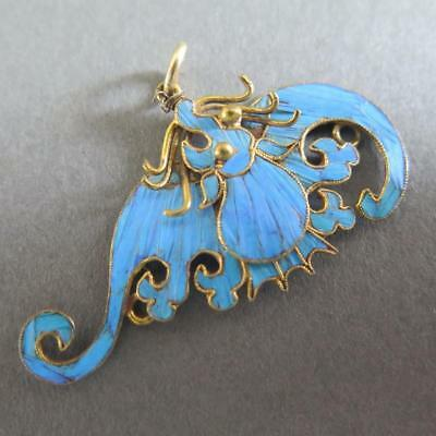 Striking Fine Antique Chinese Feather And Gilt Silver Pendant Of A Bat