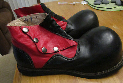black and red leather clown shoes, lightly used