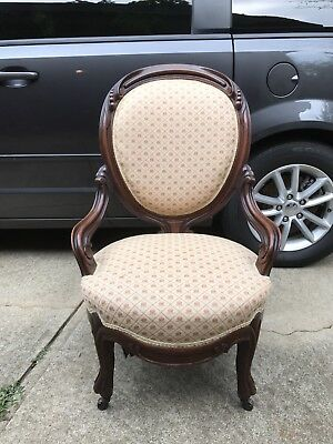 Antique Victorian Matching Chair and Loveseat