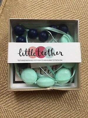 Silicone Baby Teether Teething Necklace Jewelry Mint Green and Navy