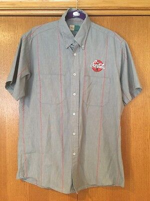 217 Coca Cola Mens Large Gray Short Sleeve Uniform Shirt Delivery Button Front 2