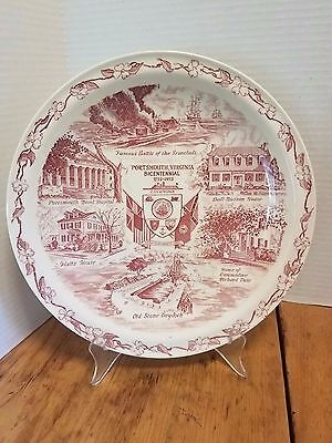 Vintage Vernon Kilns PLATE Portsmouth Virginia BATTLE OF THE IRONCLADS 10 1/4""