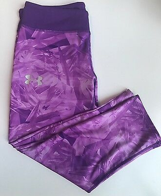 Under Armour Girls Youth Purple Heat Gear Cropped Capri Athletic Pant L Large