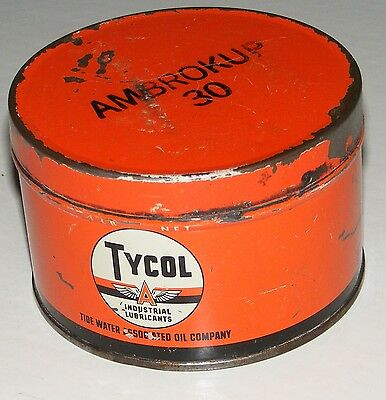"""Flying """"a""""  Tycol Can Tide Water Oil Co. Vtg Lubricants 1 Lb Can Tydol Veedol"""