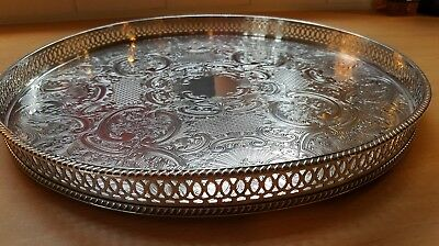 Vintage Silver Plated Circular Pierce-Work Gallery Drinks Tray By Pepper & Hope