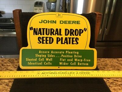 "Vintage Sign John Deere Masonite Dealership Sign ""Natural Drop Seed Plates"" MINT"