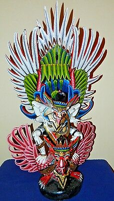 Antique Unique Large 1890's Balinese Indonesian Hand Crafted Garuda Bird Statue