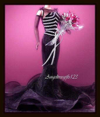 Black & silver mermaid  gown only fits Barbie silkstone Model muse Royalty