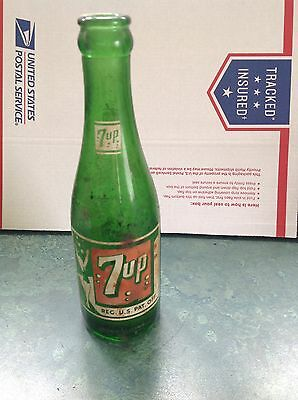 Vintage 7up Green Glass Bottle From 1950s