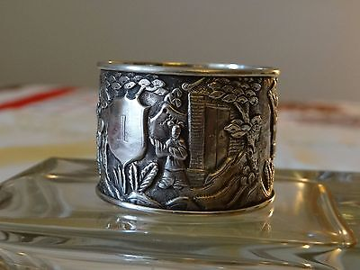 CHINESE EXPORT SILVER 6 FIGURES VILLAGE PICTORIAL NAPKIN RING 1.2 oz 1875