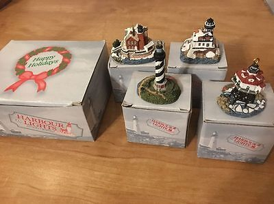 Set Of 4 Harbour Lights Lighthouse Christmas Ornaments 1997 Saugerties More 705