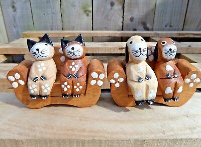 FairTrade Hand Carved Carving Made Wooden Cat Dog Animal On Sofa Ornament Statue