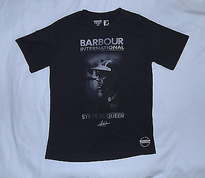 BARBOUR Steve McQueen Collection-Rustic T Shirt-Size Slim Medium-Black-Brand New