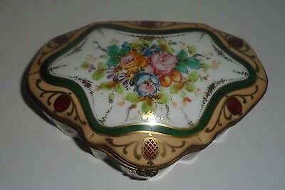 Vintage Birks Hand Painted Gilt Porcelain French Hinged Dresser Trinket Box
