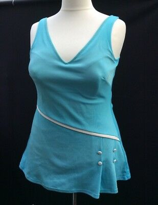 vintage 60s Silhouette turquoise Pleated skirted-Nylon swimming costume Size 22