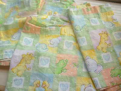 Lot of 4 animal valences curtains gender neutral green yellow zoo nursery baby