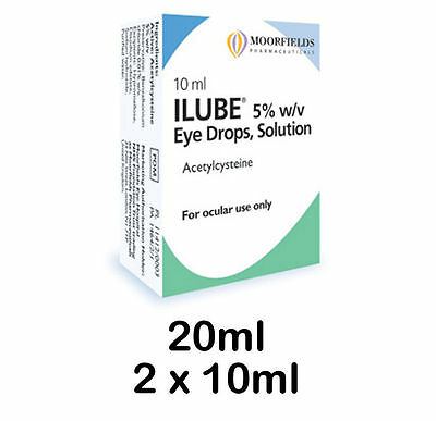 Moorfields Ilube eye drops solution 20ml (2 x 10ml) Free post