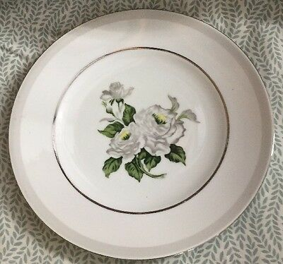 White Rose Platinum By Japan Dinner Plate, Pre-owned