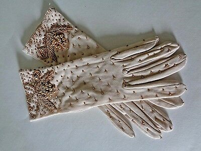 Vintage Glass Beaded Gloves Nworn One Size Stretch Hong Kong & Package