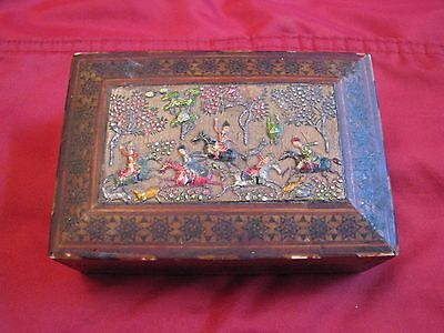 Persian Islamic Antique  Wood Box,,, Hunting scene  Antique Vintage