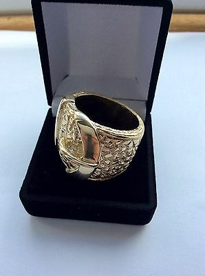 Solid 9Ct Gold- Buckle Ring -Size Y Heavy 48 Gms-Hallmarked