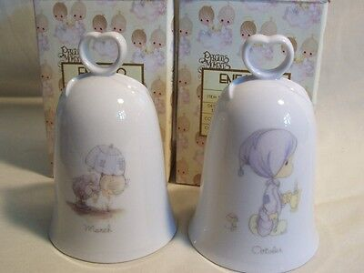 Precious Moments 1985 March & October Monthly Bells & Boxes - Clappers Missing