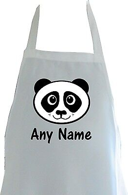Personalised Cute Panda Face Print Polyester Childs Apron Birthday Gift Party