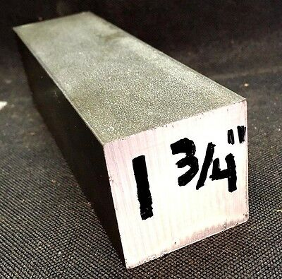 """12L14 Steel Bar, 1.750"""" (1 3/4"""") square x 6"""" Inches Length"""
