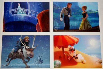 Disney Store Frozen Lithograph 4 Pictures Set in Folder NEW Elsa Anna Olaf Hans