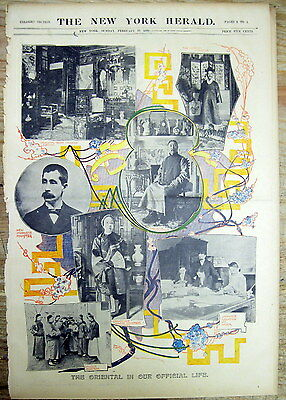 1899 newspaper w COLOR POSTER showing JAPANESE & CHINESE diplomatic delegations