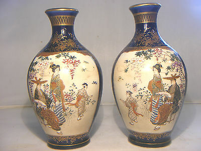 Antique Pair Of Japanese Satsuma Vases And Wooden Plinths Signed