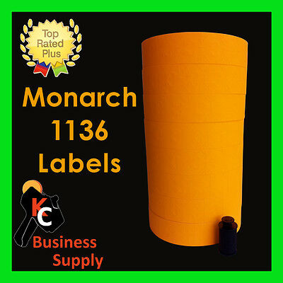 Orange labels for Monarch 1136 two line price gun - ink roller included