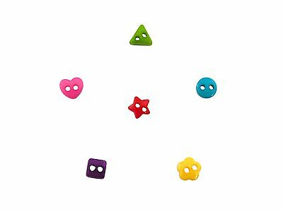 200 x 6mm Mixed Mini Buttons - Hearts, Flowers, Square, Triangle, Stars & Rounds