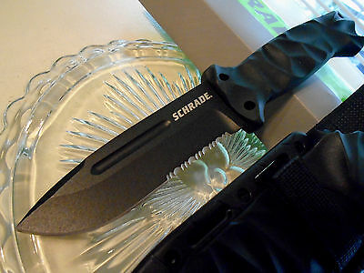 Schrade Combat Bowie Hunter Knife SCHF40 Full Tang w Sharpener & Molle Sheath J2