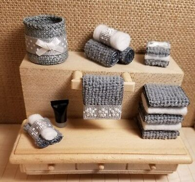 New 12:1 Scale Dollhouse Miniature Bath Towels Set Lot SALE TODAY ONLY $9.99!!!