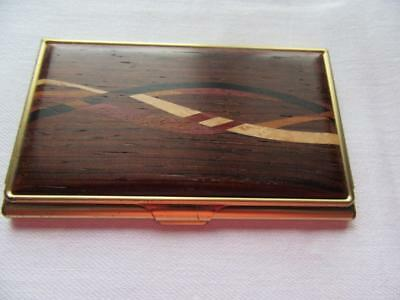 Solid brass and wood business card case by Artists Davin and Kessler