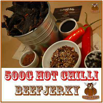 BEEF JERKY HOT CHILLI 500G Hi PROTEIN LOW CARBOHYDRATE PRESERVATIVE FREE SNACK