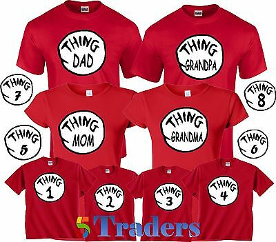 Thing 1 2 3 T-Shirt Funny Cat in the Hat Halloween Character Cute Book