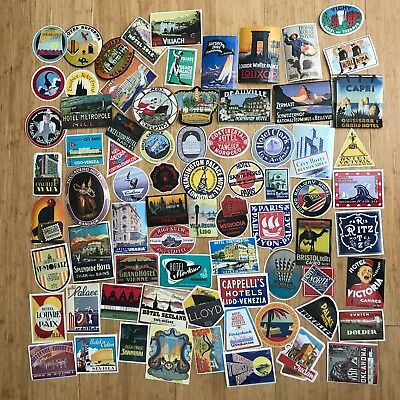 Lot Of 70+ Stickers Luggage Foreign Hotel