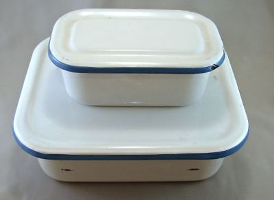Vintage Enamelware Refrigerator Boxes w/ Lids Lot of 2, White/Blue 8x7, 6x3½