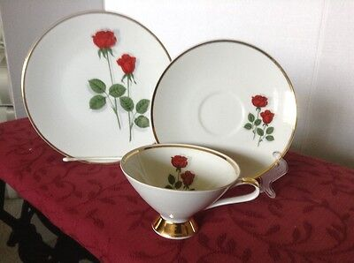 """*mitterteich"""" Bavaria Germany 3 Piece Set Cup/saucer And Luncheon Plate"""